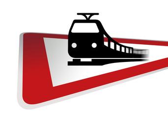 Verkehrsschild Achtung Bahn