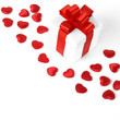Gifts boxes with textile hearts, valentines day concept