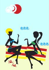 Girfriends on Seaside