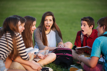 Astonished Student with Friends