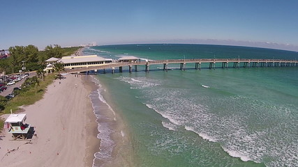 Fishing pier in South Florida aerial view