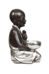 Black young buddha isolated with clipping path