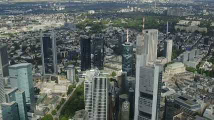 Frankfurt Skyline and City from Helicopter