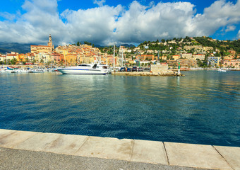 Beautiful harbor and old city panorama,Menton,Provence,France