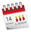 Kalender rot 14 Dezember 3. Advent 2014