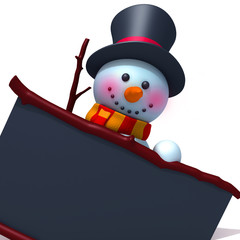 Snowman with black board