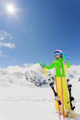 Skiing. Skie enjoying winter vacation
