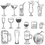 Fototapety Vector Set of Sketch Cocktails and Alcohol Drinks