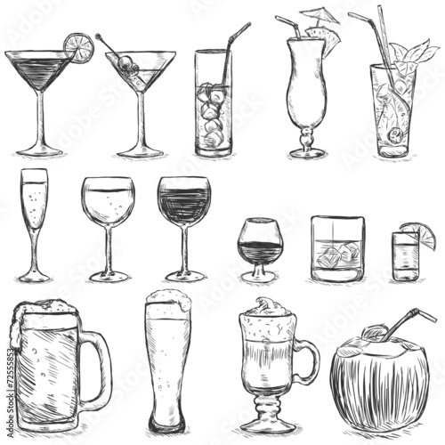 Vector Set of Sketch Cocktails and Alcohol Drinks - 72555853