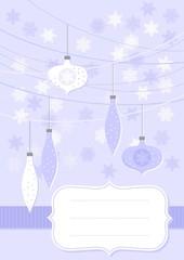 bombki i gwiazdki niebieska pionowa kartka świąteczna z ramką