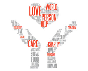 Charity donation vector concept in words cloud