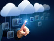 man touching a person-icon in a cloud network