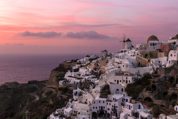Oia village at Sunset in Santorini Island, Greece