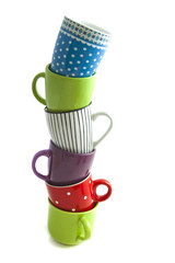 Cups on a pile