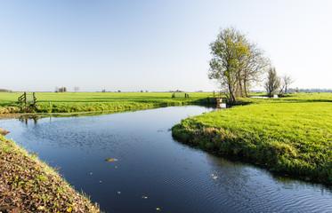 Dutch polder landscape in the fall season