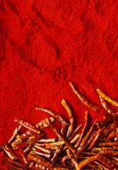 Red chili peppers and chili powder