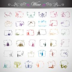 Wine Icons Set - Isolated On Gray Background