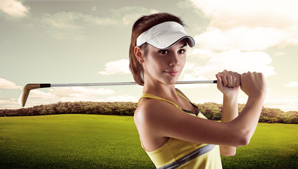 Portrait of young professional golf player wearing sportswear