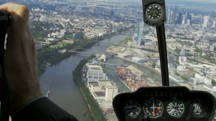 Skyline of Frankfurt from Helicopter with cockpit