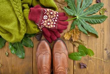 Stiefel, Handschuhe und Schal fuer den Heerbst