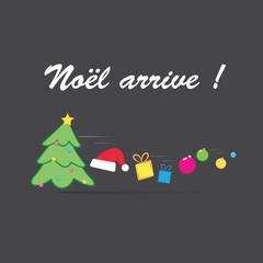 Noël arrive !-fond gris