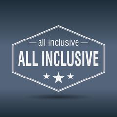 All inclusive hexagonal white vintage retro style label