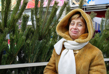 Woman near New Year tree
