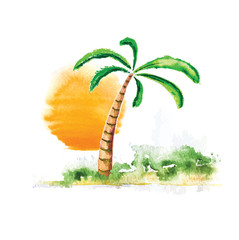 Palm tree and sun, watercolour vector illustration