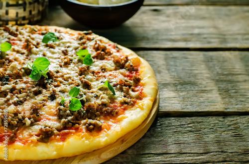 Fotobehang Brood pizza with meat, mozzarella and oregano