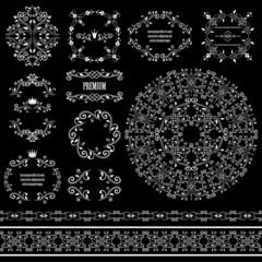 Floral design elements set in white color