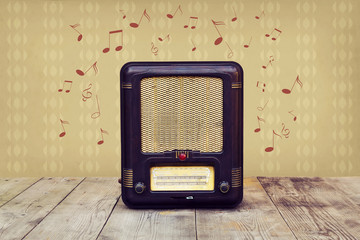 Retro radio and musical notes