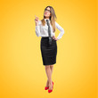 Cute businesswoman thinking an idea over yellow background