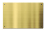 Brass or gold metal plate isolated with clipping path included