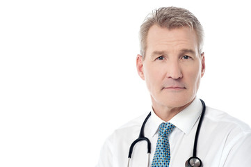 Smiling experienced doctor isolated over white