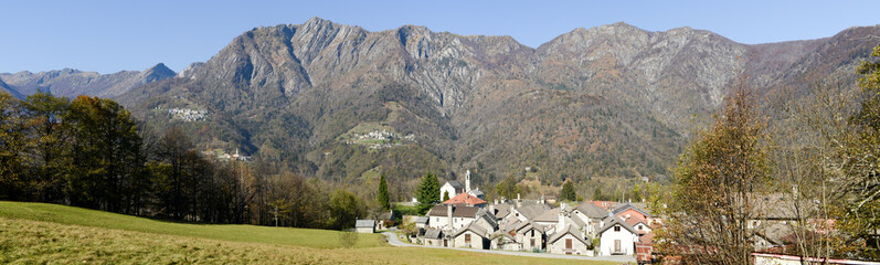 The rural village of Palagnedra on Centovalli valley