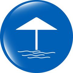 Beach umbrella on web icon (button) isolated on white