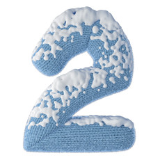 2 numberr made of wool covered with snow