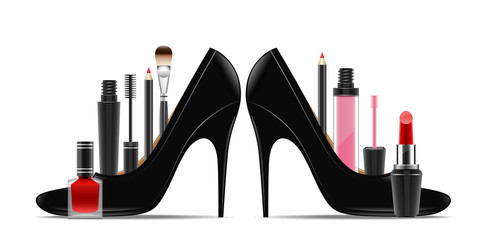Cosmetics set into a woman's shoe