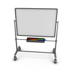 White board with colored markers.