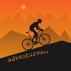 Abstract poster with bicycle
