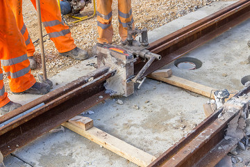 Tram tracks recently joined 2