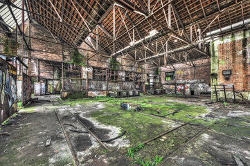 Derelict warehouse in an abandoned coal mine
