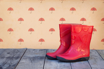 Red rubber boots
