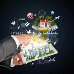 Man hands using tablet pc. Business city on touch screen. Earth
