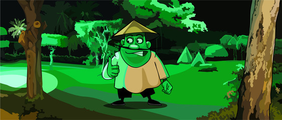 cartoon man in the Vietnamese hat in a park in the green light