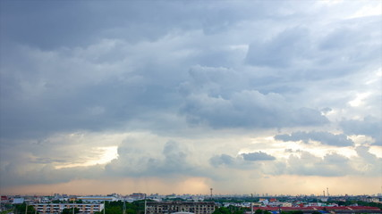 storm over city, time lapse