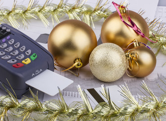 Business Christmas of a payment terminal, credit Cards, balls,