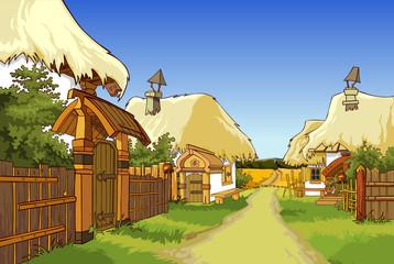 cartoon village street with houses