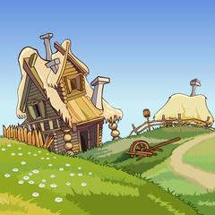 cartoon village houses