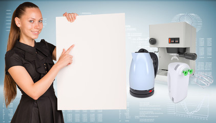 Businesswoman hold paper sheet. Coffee maker, electric kettle
